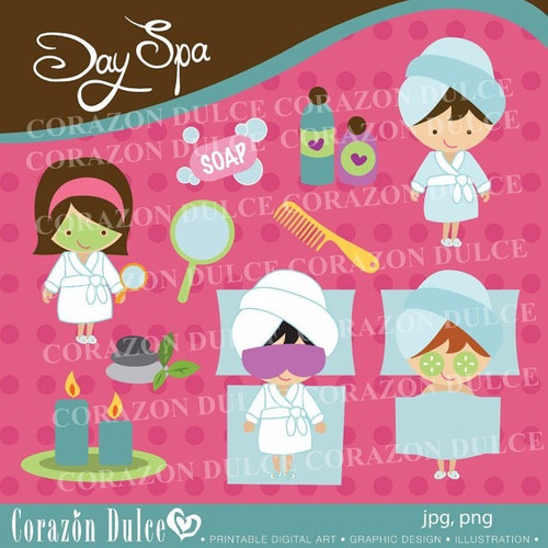 kit scrapbook digital spa party imagens clipart cod 4