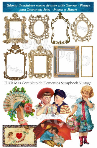 kit scrapbook digital vintage flores fondos elementos