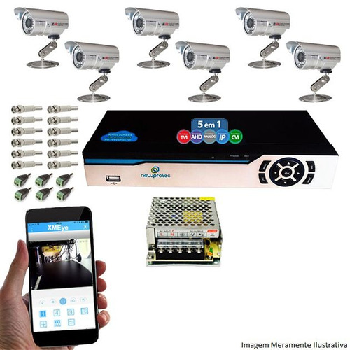 kit segurança dvr 8 canais newprotec 6 câmeras ccd 1200l