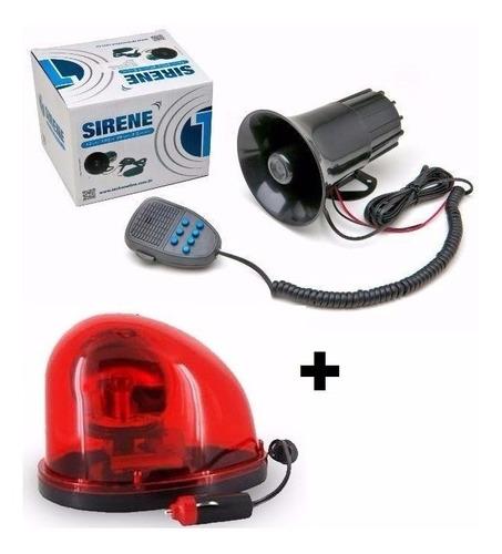 kit segurança sirene 7 tons + giroflex vermelho 12v unidade