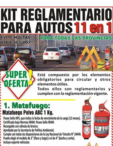 kit seguridad auto reglamentario 12 en 1 apto vtv itv full $
