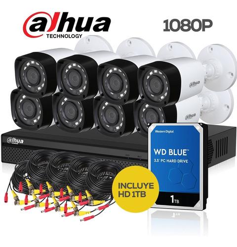 kit seguridad dahua full hd dvr 8 + 8 camaras 1080p + hd 1tb