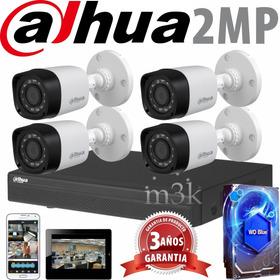 Kit Seguridad Dahua Full Hd Dvr 8 +disco 1tb Instalado + 4 Camaras 2mp 1080 Exterior Infrarrojas / Domo Interiores + Ip