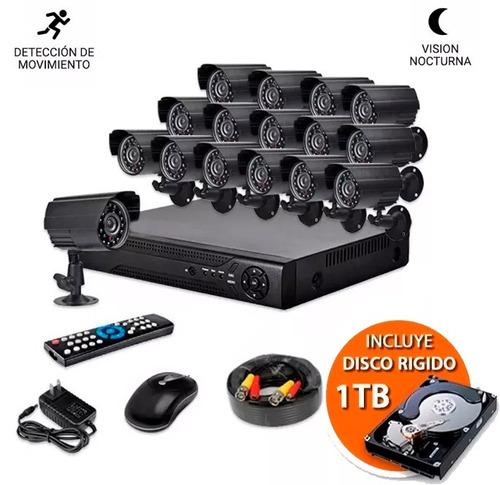kit seguridad dvr +16 camaras infrarrojo + envio + disco