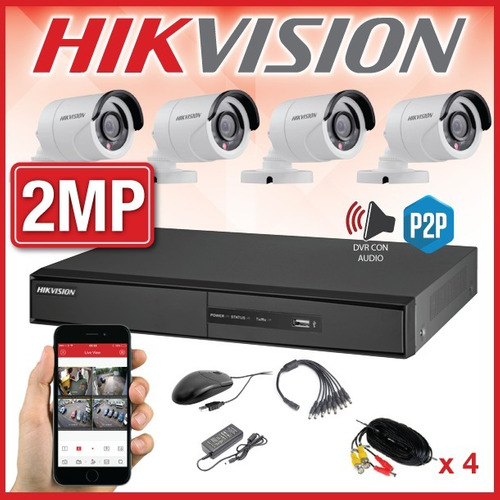 kit seguridad hikvision dvr 8ch 1080p + 4 camaras 2mp