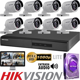 Kit Seguridad Hikvision Full Hd Dvr 8 + Disco 1 Tb Instalado + 8 Camaras Infrarrojas Exterior / Domos Interior + Ip M3k