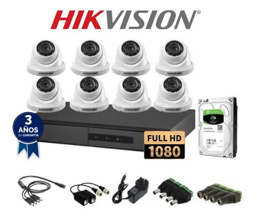 kit seguridad hikvision full hd dvr 8 + 8 camaras + disco