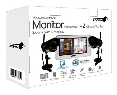 kit seguridad monitor 2 camaras inalambricas 420tvl logan