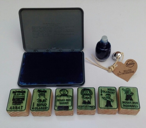 kit sellos didácticos con tinta y cojín - español m-1