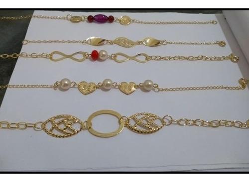 kit semi joia folheadas para revenda 15 pulseiras e 15 anéis