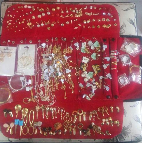 kit semi-jóias atacado 140 pçs folheadas + pasta
