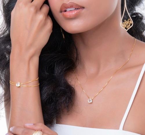 kit semijoias de luxo folheadas à ouro 18k - alto padrão
