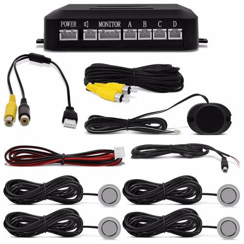 kit sensor de estacionamento 4 pontos prata com câmera de ré