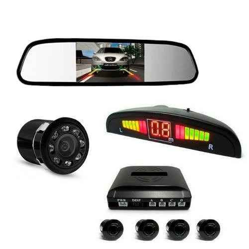 kit sensor de estacionamento câmera de ré e espelho com tela