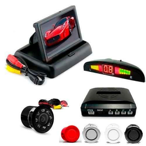 kit sensor de estacionamento câmera de ré noturna + tela lcd