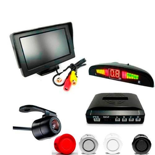 kit sensor de estacionamento + câmera de ré + tela lcd 4.3