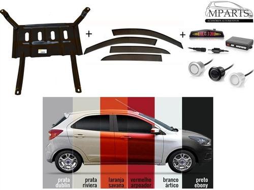 kit sensor de ré calha de chuva protetor de carter ford ka