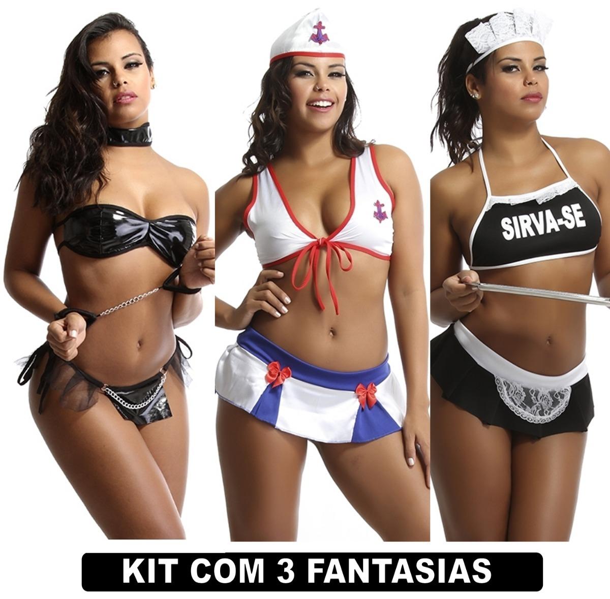 bffec0a7d Kit Sensual Com 3 Fantasias Eroticas Lingerie Moda Sensual - R  94 ...