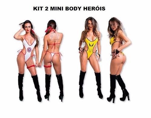 kit sensual mini body heróis sexy capitã américa + wolverine