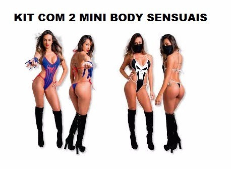 kit sensual mini body sexy mulher aranha + justiceira