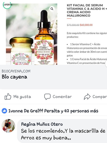 kit serum vitamin c 25%+crema acido hialuronico 100%organico