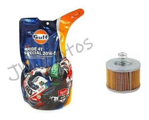 kit service aceite gulf 20w50 + filtro fz 16 fi 2.0 jm motos