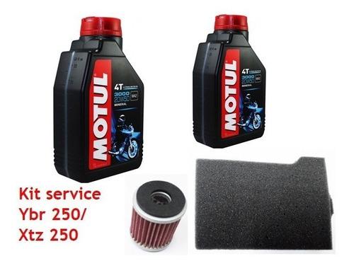 kit service yamaha xtz 250 ybr 250 motul 3000 + filtros jm