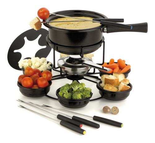 kit serviço de fondue panela giratorio viena 16pcs completo