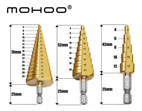 kit set 3 mechas escalonadas baño titanio 4 -32 mm calidad