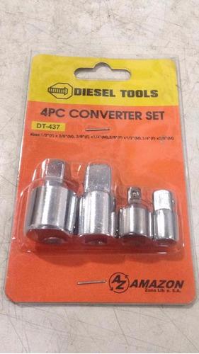 kit set 4 piezas dados convertidores diesel tools adaptador