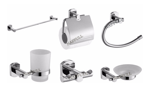 kit set accesorios 6 piezas acero y vidrio florencia naffull