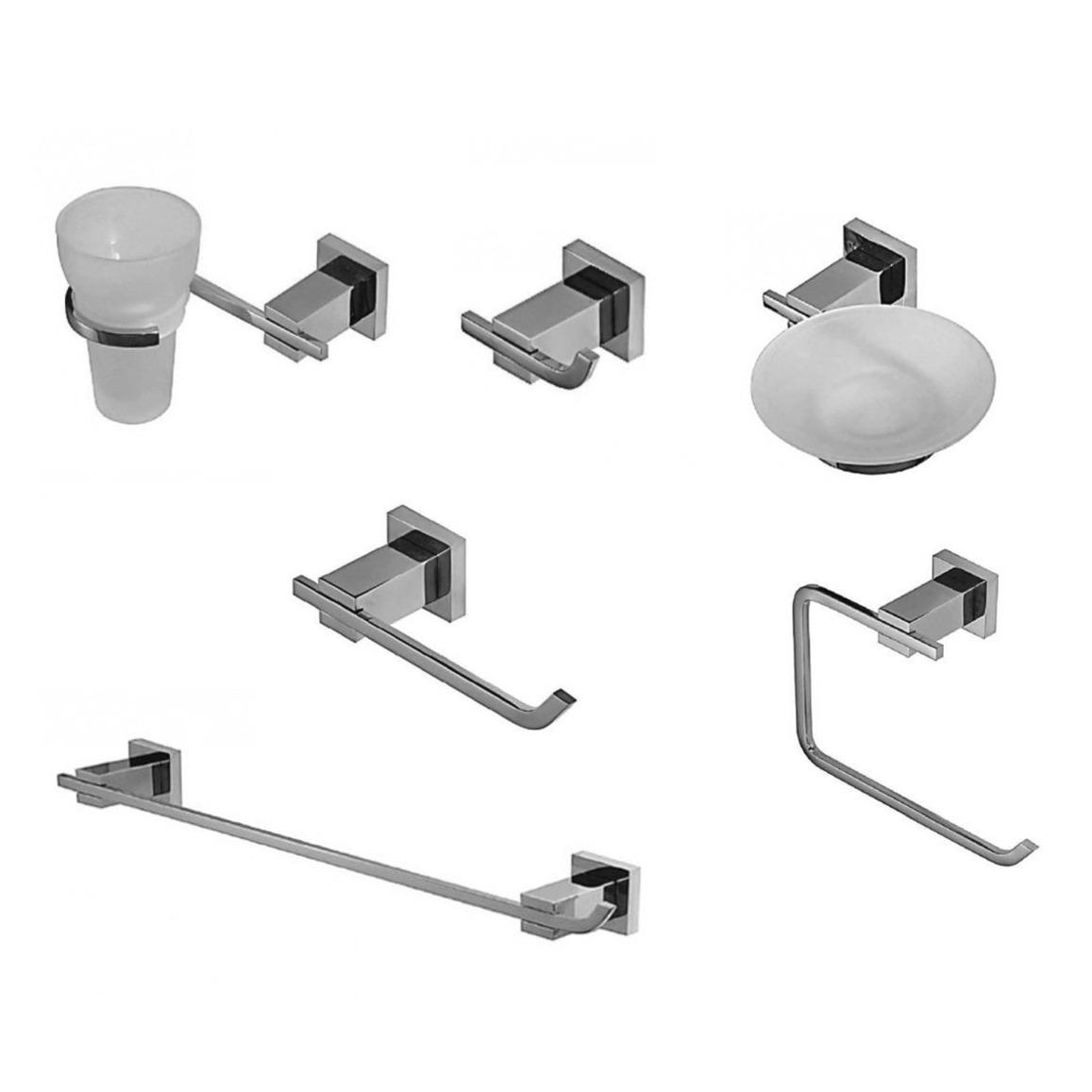 kit set accesorios baño hidromet geometry 6 piezas cromado. Cargando zoom. ecb20b3e2413