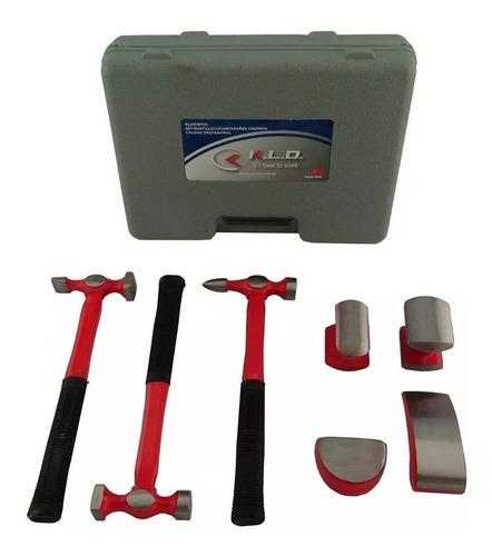 kit set chapista acero forjado 4 aguantadores 3 martillos kl