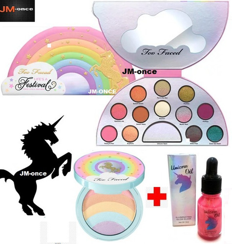 kit set de sombras, iluminador maquillaje x3