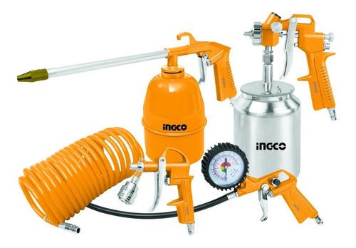 kit set para compresor de aire 5 piezas metalico ingco