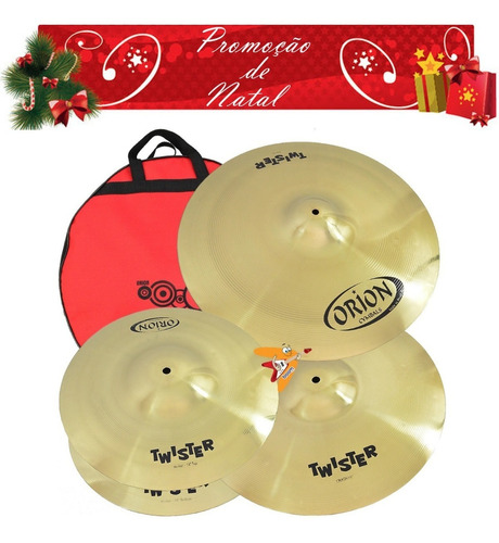 kit set pratos orion twister twr90 14/16/20 bateria com bag