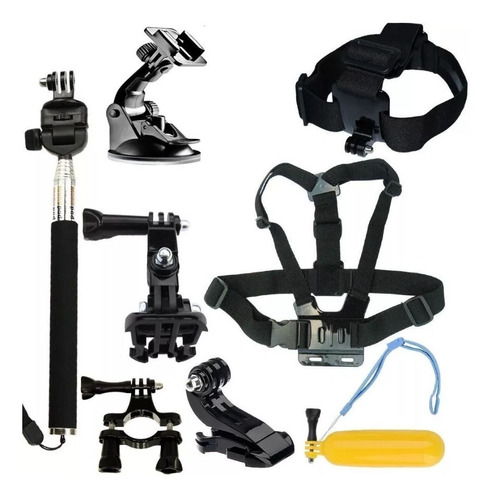 kit set x 9 accesorios go pro baston pechera flotador sopapa