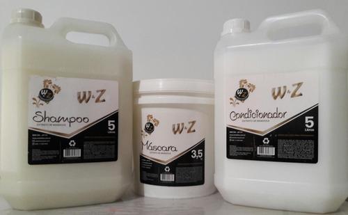 kit shampoo 5 l + condicionador 5 l +  máscara 3,5kg w&z