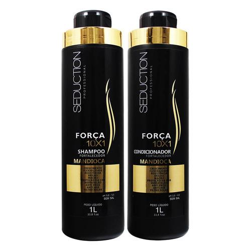 kit shampoo + condicionador força 10x1 mandioca 1l seduction