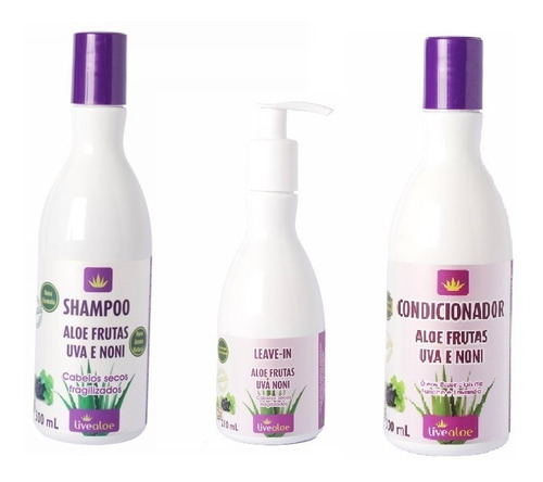 kit shampoo condicionador leave-in frutas live aloe vera