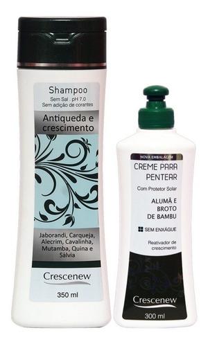 kit shampoo creme anti queda alumã broto bambu crescenew