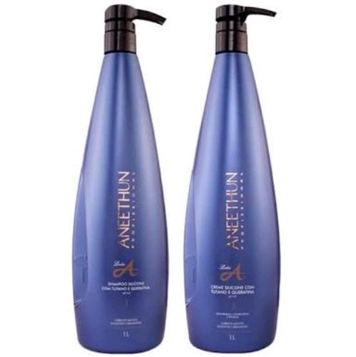 kit shampoo + creme de silicone linha a 1l aneethun