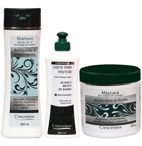 kit shampoo, creme pentear e máscara de alumã queda cabelo