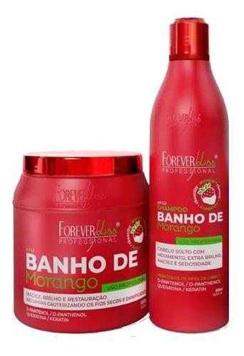 kit shampoo e máscara banho de verniz morango - forever liss