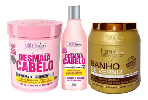 kit shampoo e máscara desmaia cabelo e banho de verniz 1kg