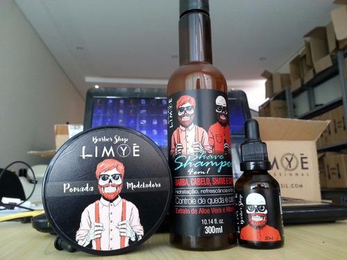 kit shampoo + oleo + pomada cabelos barber shop dia dos pais
