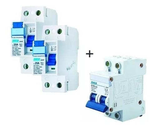 kit sica disyuntor 25 amp + 2 térmicas 5a 32 amp
