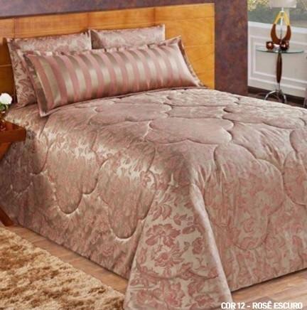 kit siena super king jacquard rosa 7 pçs brinde travesseiro