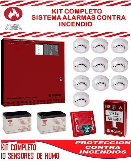 Kit sistema alarma contra incendio central sensores de - Sensores de humo ...