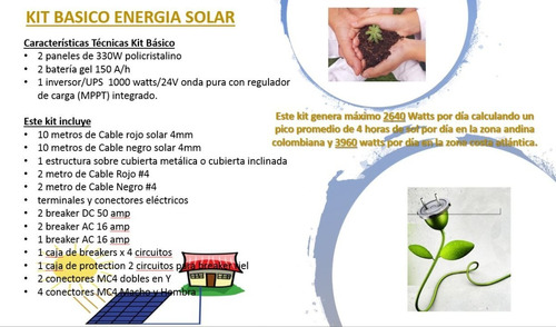 kit sistema energia solar panel solar inversor batería